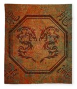 Dueling Dragons In An Octagon Frame With Chinese Dragon Characters Yellow Tint Distressed Fleece Blanket
