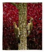Dueling Woodpeckers Fleece Blanket