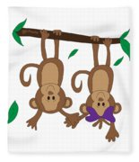 Duffworkscreative_monkeyfunlove_holdinghands Fleece Blanket