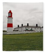 Dull Day At The Seaside. Fleece Blanket