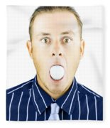 Dumbfounded Man Silenced By A Golf Ball Fleece Blanket