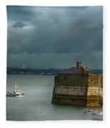 Dun Laoghaire Harbor Lighthouse Fleece Blanket