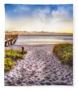 Dunes At The Pier Fleece Blanket