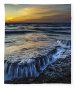 Dusk At Torregorda Beach San Fernando Cadiz Spain Fleece Blanket