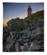 Dusk At West Quoddy Head Lighthouse Fleece Blanket