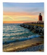 Dusk In Charlevoix Fleece Blanket