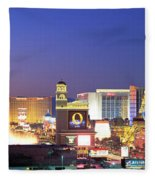 Dusk, The Strip, Las Vegas, Nevada, Usa Fleece Blanket