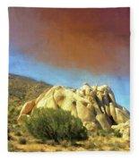 Dust Storm Over Joshua Tree Fleece Blanket