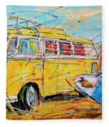 Dutch Holiday, Yellow Surf Bus Fleece Blanket
