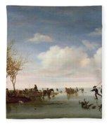 Dutch Landscape With Skaters Fleece Blanket
