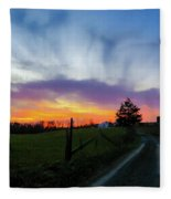 Dutch Lane In Evening Sky Fleece Blanket