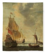 Dutch Ships In A Lively Breeze Fleece Blanket