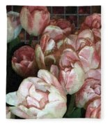 Dutch Tulips Dutch Tile Fleece Blanket