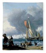 Dutchman Embarking Onto A Yacht Fleece Blanket