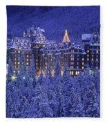 D.wiggett Banff Springs Hotel In Winter Fleece Blanket