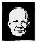 Dwight D. Eisenhower White On Black Pop Art Fleece Blanket