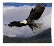 Eagle Flying In Sunlight Fleece Blanket