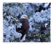 Eagle In A Frosted Tree Fleece Blanket