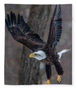 Eagle In The Forest Fleece Blanket