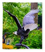 Eagle In The Garden Fleece Blanket
