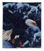 Eagle In The Storm Fleece Blanket