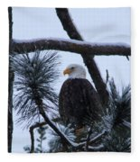 Eagle On A Frosted Limb Fleece Blanket