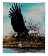 Eagle With Decoy Fleece Blanket