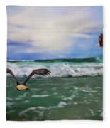 Eagles At Sea Wildlife Art Fleece Blanket