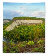 Early Autumn At Genesee River Canyon New York Fleece Blanket