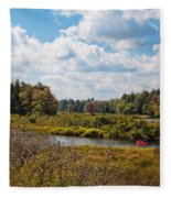 Early Autumn At The Tobie Trail Bridge Fleece Blanket