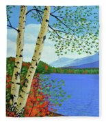 Early Autumn Birches Fleece Blanket