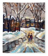 Original Montreal Paintings For Sale Winter Walk After The Snowfall Exceptional Canadian Art Spandau Fleece Blanket