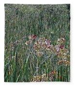 Early Fall Color Woodcut Fleece Blanket
