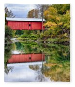 Early Fall Colors Surround A Covered Bridge In Vermont Fleece Blanket