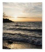 Early Lakeside - Waves Sand And Sunshine Fleece Blanket
