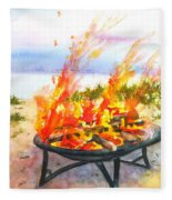 Early Morning Beach Bonfire Fleece Blanket