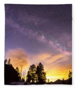 Early Morning Colorful Colorado Milky Way View Fleece Blanket