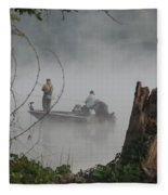Early Morning Fishing Fleece Blanket