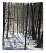 Early Morning Fog In A New Hampshire Forest Fleece Blanket