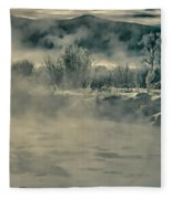 Early Morning Frost On The River Fleece Blanket