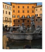 Early Morning Glow - Neptune Fountain On Piazza Navona In Rome Italy Fleece Blanket