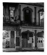 Early Morning Paseo Del Prado Havana Cuba Bw Fleece Blanket