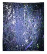 Early Morning Pearls Dew Kissed Spider Web Fleece Blanket