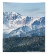 Early Morning Snow On Pikes Peak Fleece Blanket