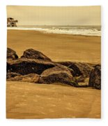 Early Morning Tybee Beach Fleece Blanket