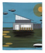 Early Painting Futuristic House Fleece Blanket