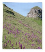 Early Purple Orchids In The Derbyshire Dales Fleece Blanket