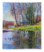 Early Spring In Bear Mountain Fleece Blanket