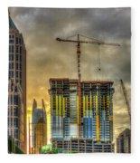 Early Start Skyscraper Construction Atlanta Georgia Art Fleece Blanket