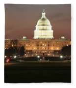 Early Washington Mornings - Us Capitol In The Spotlight Fleece Blanket
